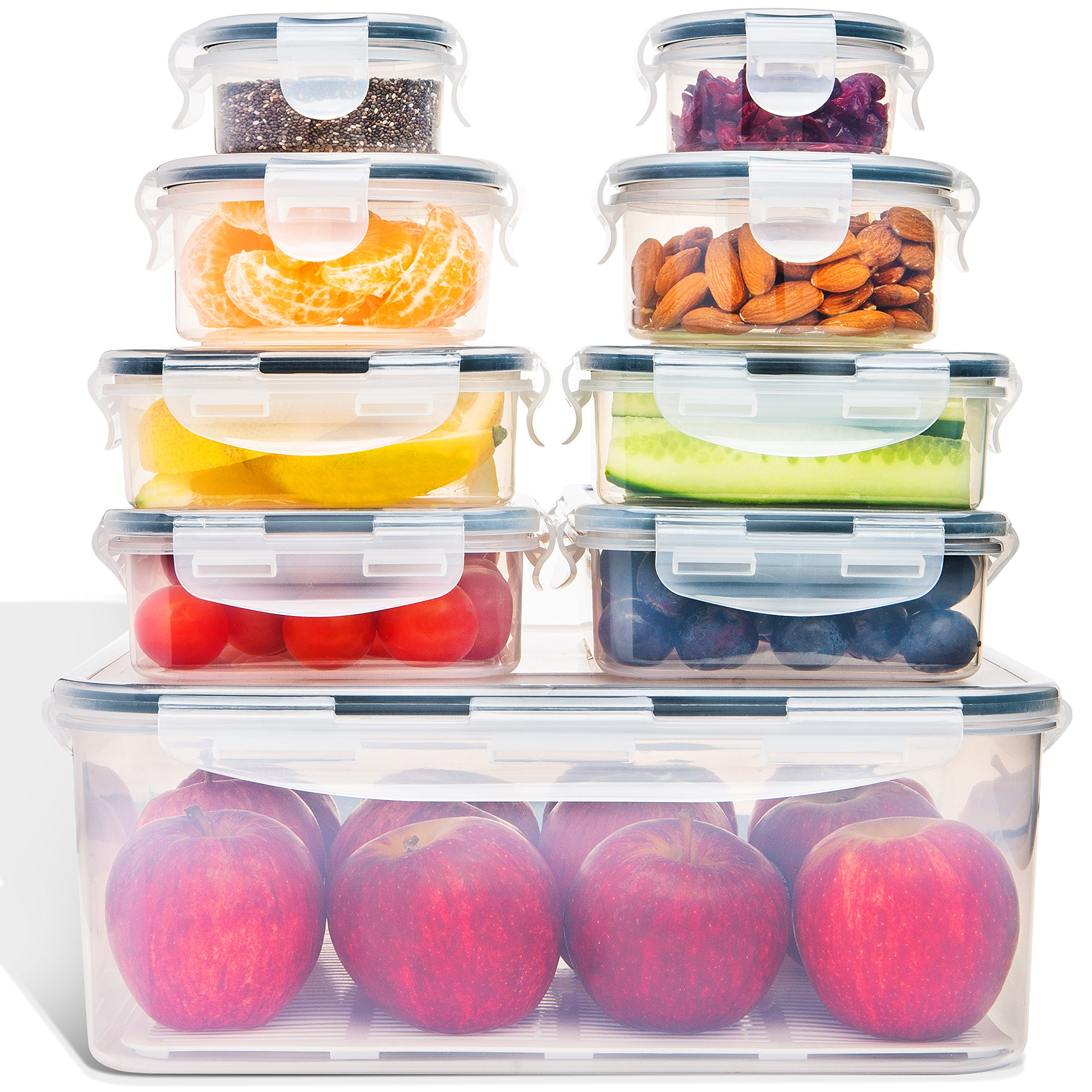 Food Storage Containers with Lids - Airtight Leak Proof Easy Snap Lock and BPA Free Clear Plastic Container Set for Kitchen Use by Fullstar (18 Piece Set) by Fullstar (Image #2)