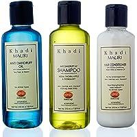 Khadi Mauri Herbal Combo (Hair Conditioner, 210ml + Anti Dandruff Shampoo, 210ml + Anti Dandruff Oil, 210ml)