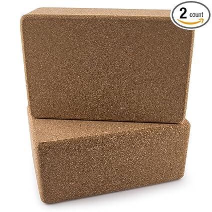 Da Vinci Set of 2 Premium Natural Cork Yoga Blocks High Density 9 x 6 x 4 Inch Each