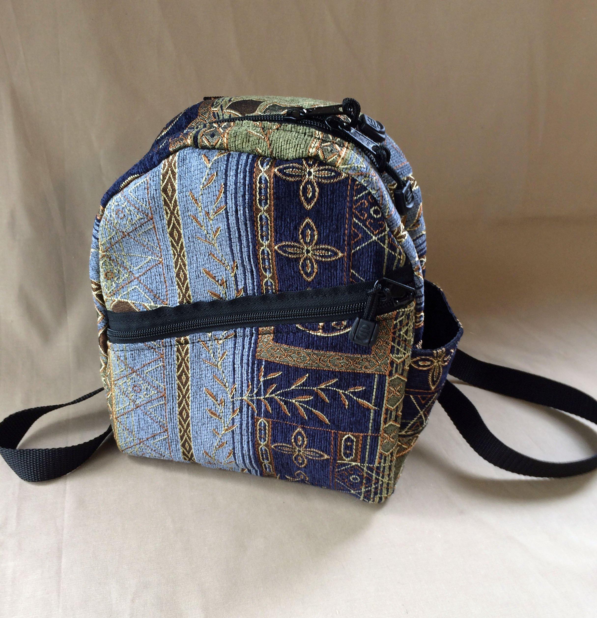 Ladies Backpack Purse Backpack Handbag handmade in Sapphire or Crimson Tapestry by MKI Bags