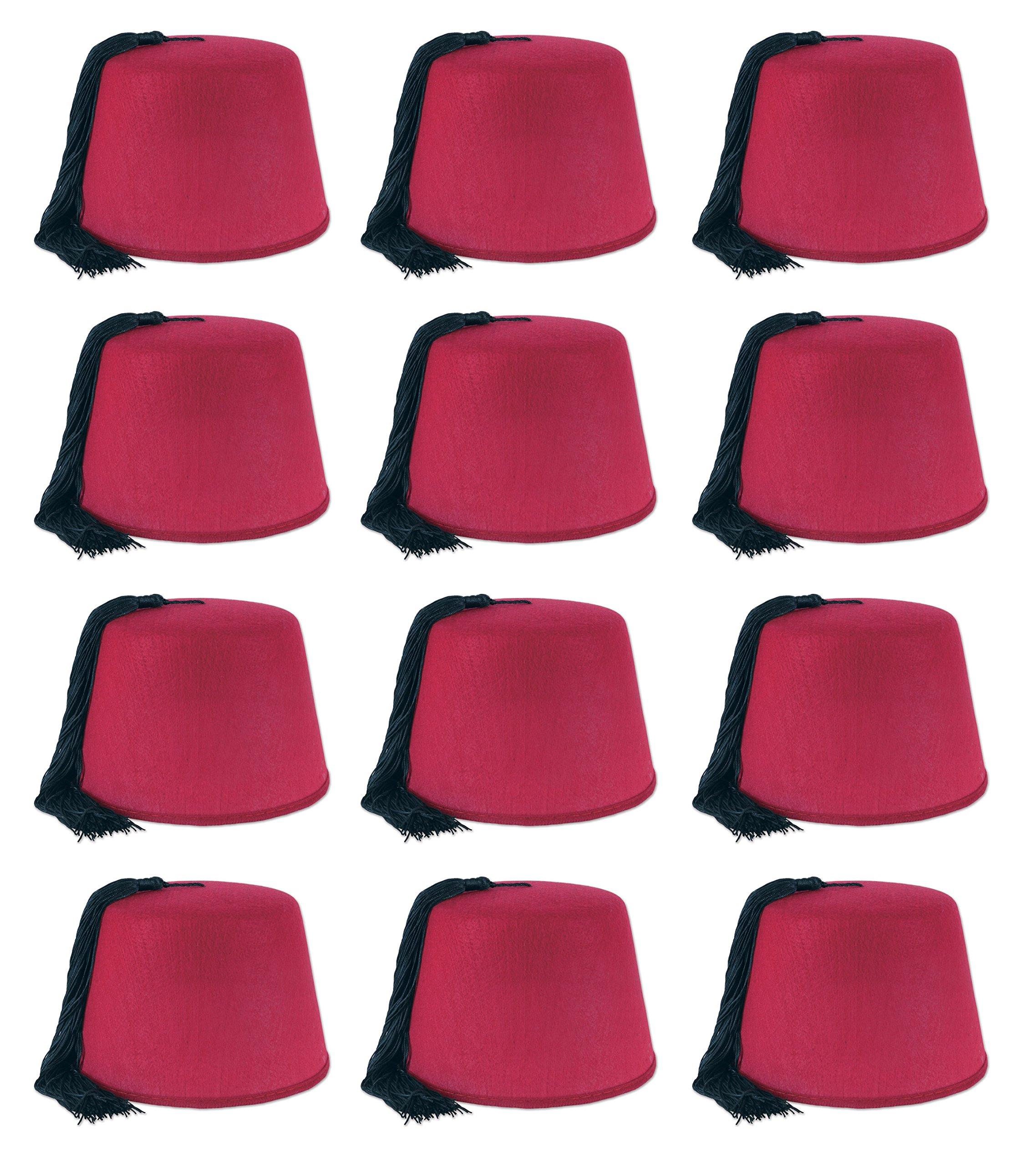 Beistle 60065 12 Piece Felt Fez Hats, Red/Black