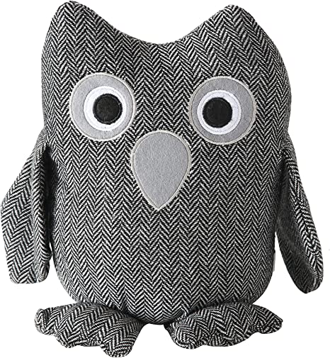 Amazon Com Baby Barn Owl Door Stopper Rustic Herringbone Fabric With Gray And Black Details Applique Eyes Rustic Woven Polyester Sand Filling Weighted Prop 8 3 4 Inches Tall 2 3 Pounds Home Kitchen