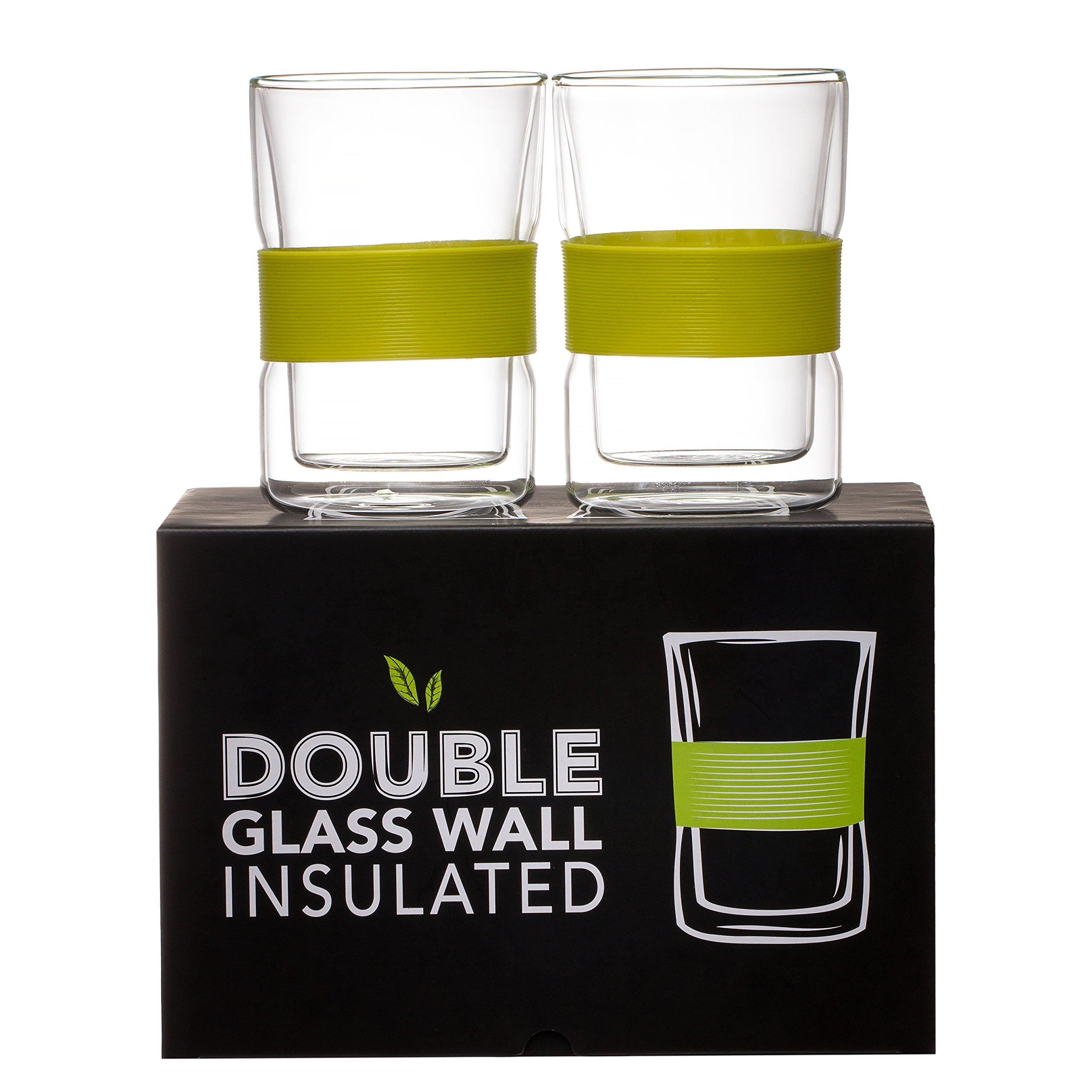 Prana Coffee Mug, Double Wall Insulated Tea Glass, Clear Cup With Gift Box (Set Of 2 Mugs) 10 oz
