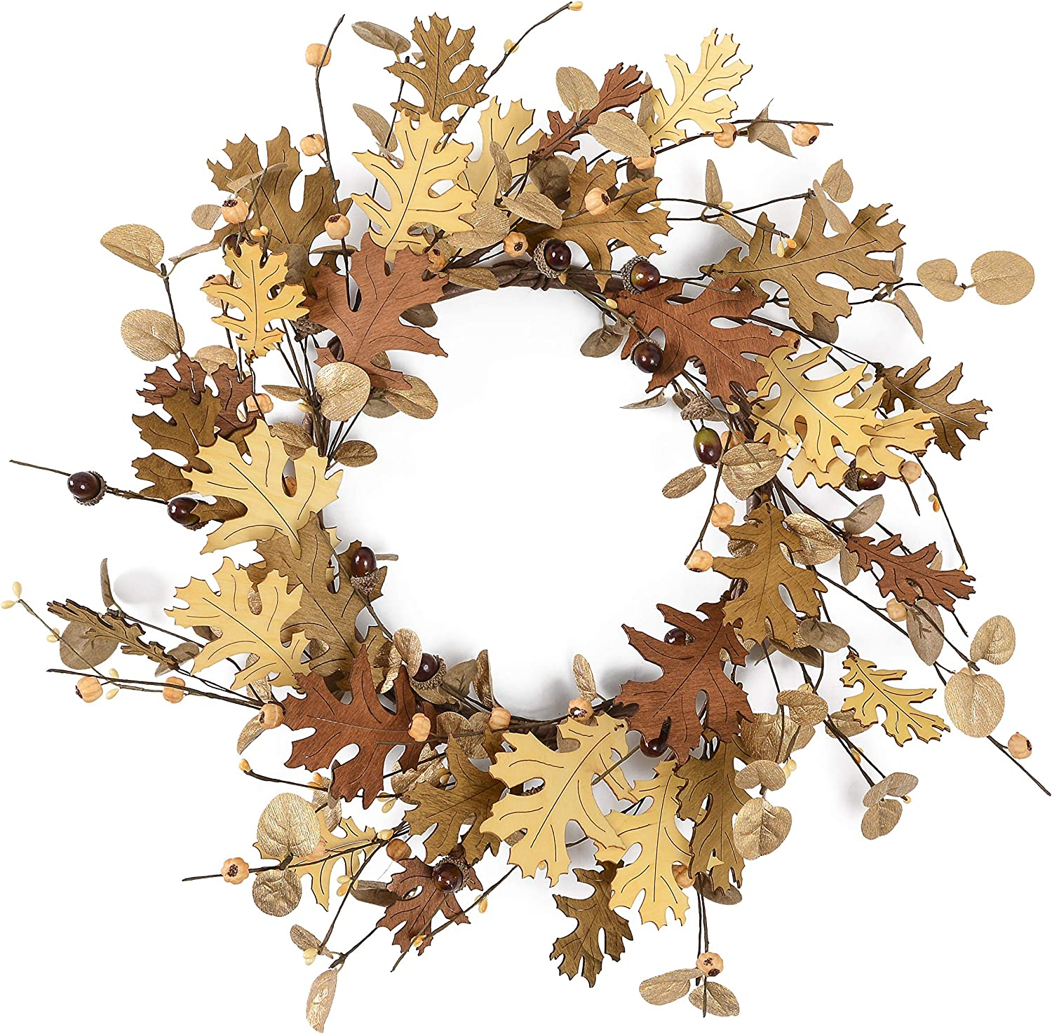 "YNYLCHMX Fall Wreaths for Front Door, 18"" Artificial Thanksgiving Wreath Golden Eucalputs Leaves with Small Pumpkin Modern Rustic Farmhouse Wreath, Garland for Hanging Window Wall Decorations"
