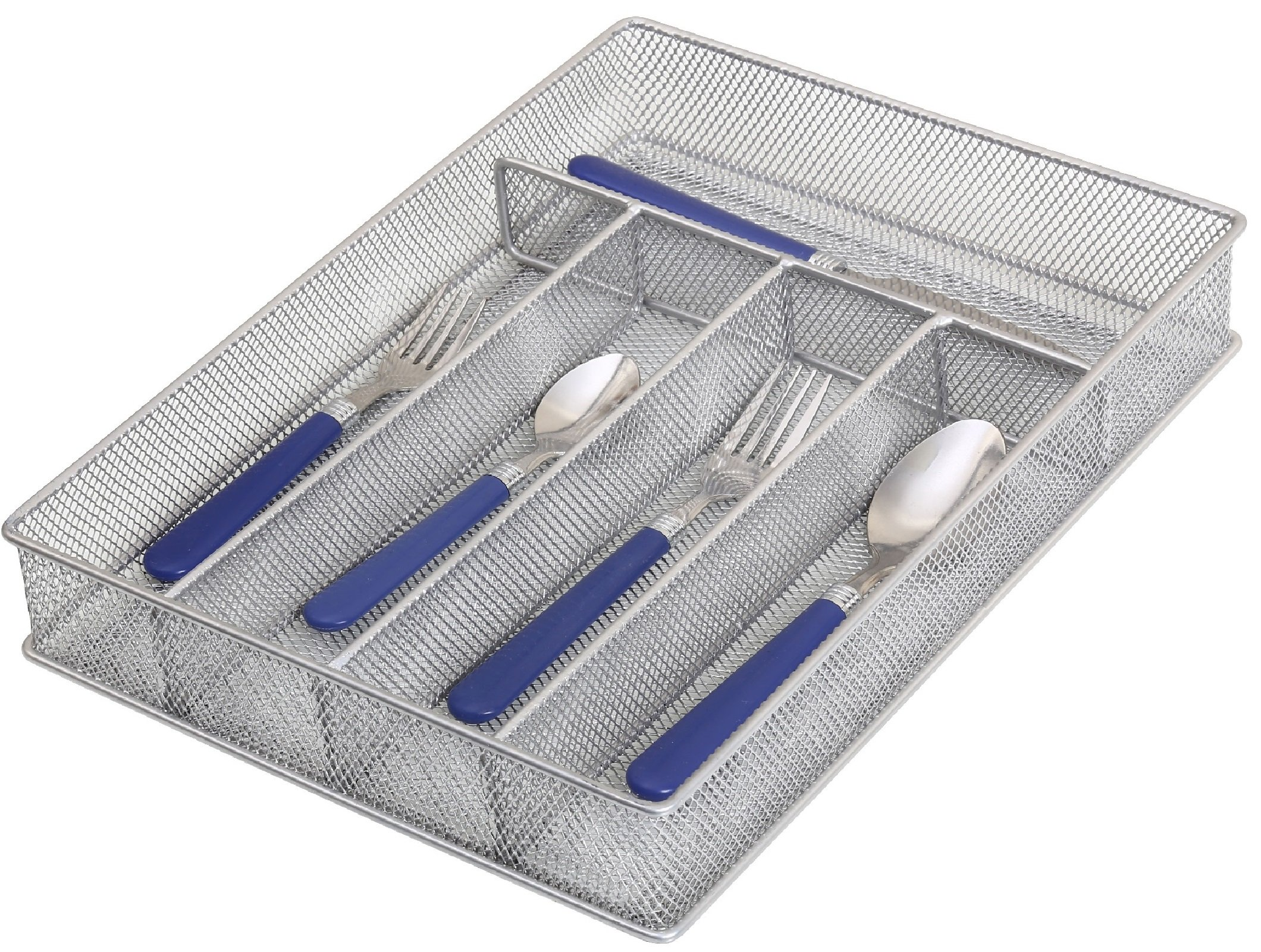 Ybm Home Silver Mesh Kitchen In-Drawer Serving Utensils, Flatware, Cutlery Desk and Office Supplies Organizer/Tray Holder Silverware Storage 12.5'' L x 9.25'' W x 2'' H 1133s (1, 5 Compartment)
