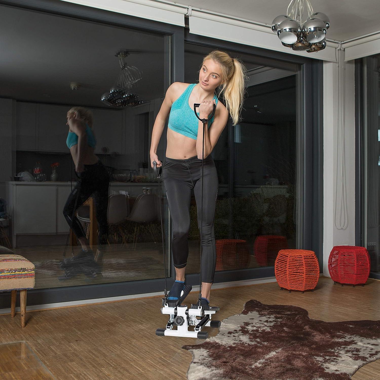 Appareil de Fitness pour la Maison Podom/ètre et 2 extenseurs Relaxdays Stepper Noir et Blanc Up /& Down