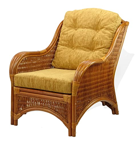 Lounge Jam Armchair ECO Natural Rattan Wicker Handmade Design with Light Brown Cushion, Cognac