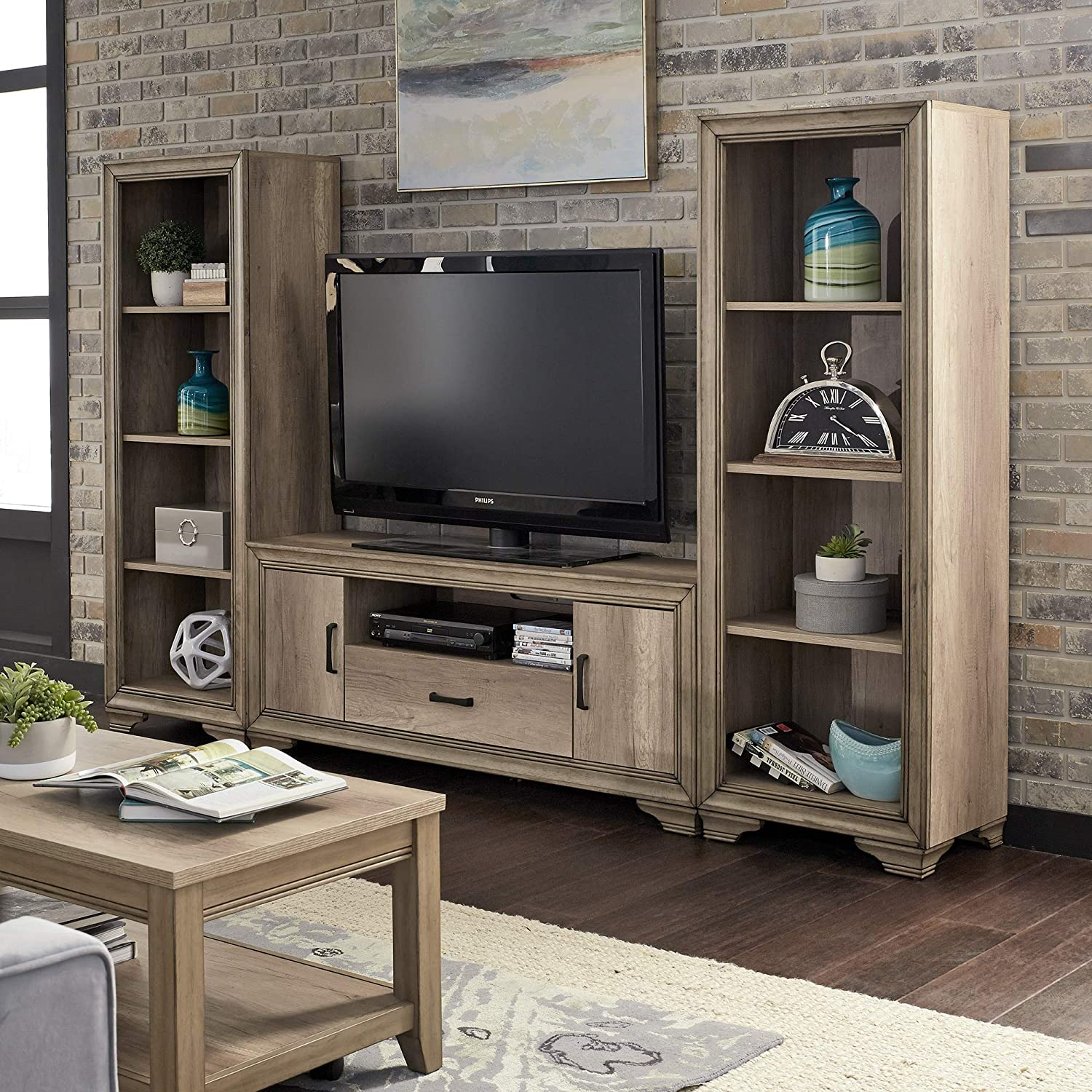 Liberty Furniture Industries Sun Valley Entertainment Center with Piers, Sandstone