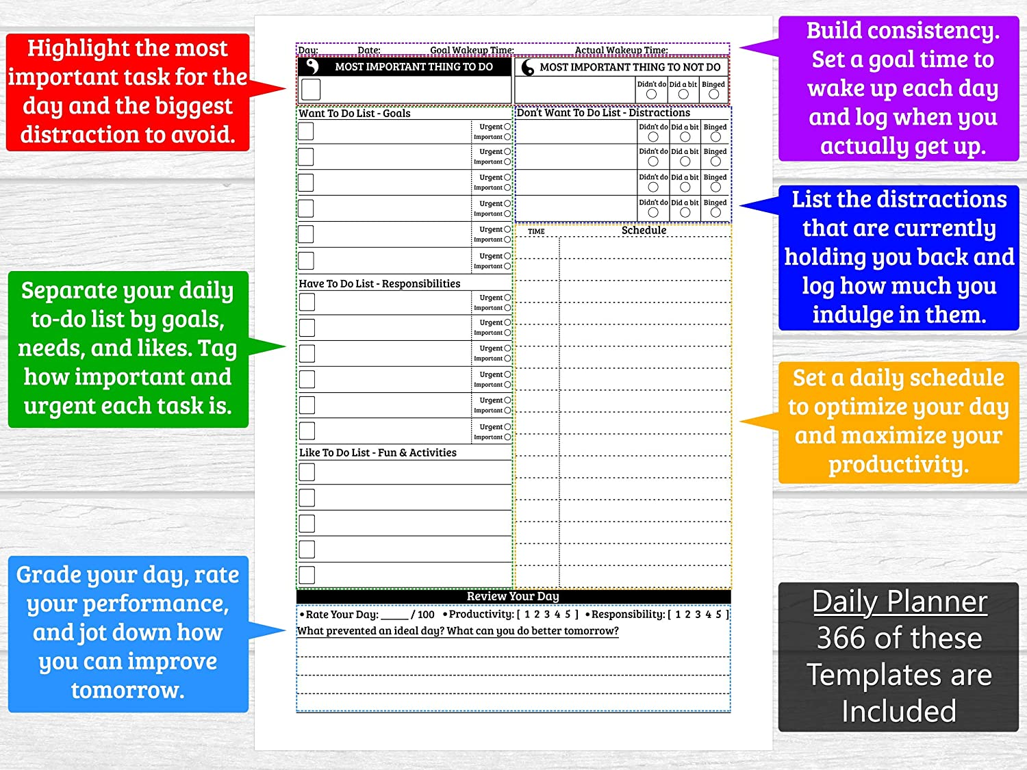 graphic regarding Productivity Planner Templates identify SOM.L - Undated Day by day Planner - Complete Calendar year of Coming up with: 366 Each day, 52 Weekly, 12 Thirty day period + Further - Complete Ambitions, Progressively Boost - 6-Ring A5 Binder,