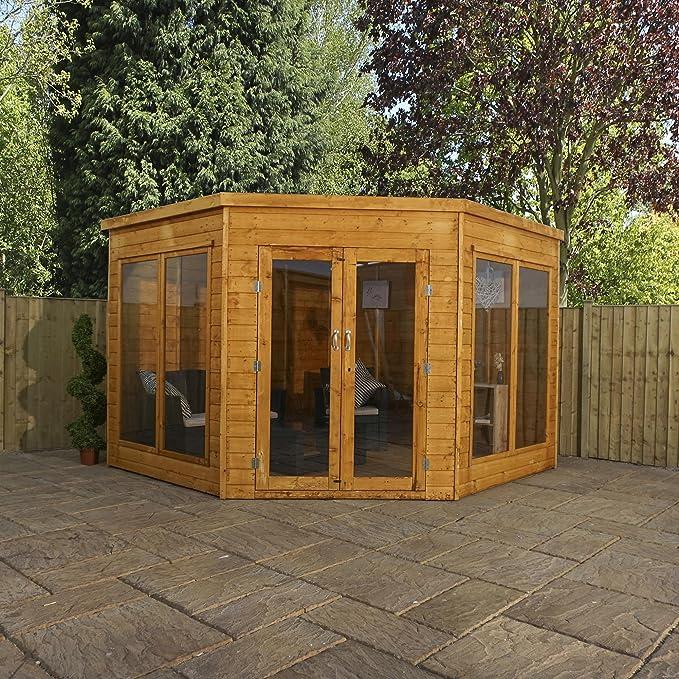 Caseta de verano 2,80x2,80 m para esquina con ventanas de estireno y puertas dobles, en madera solapada de primera calidad, de Waltons.: Amazon.es: Jardín