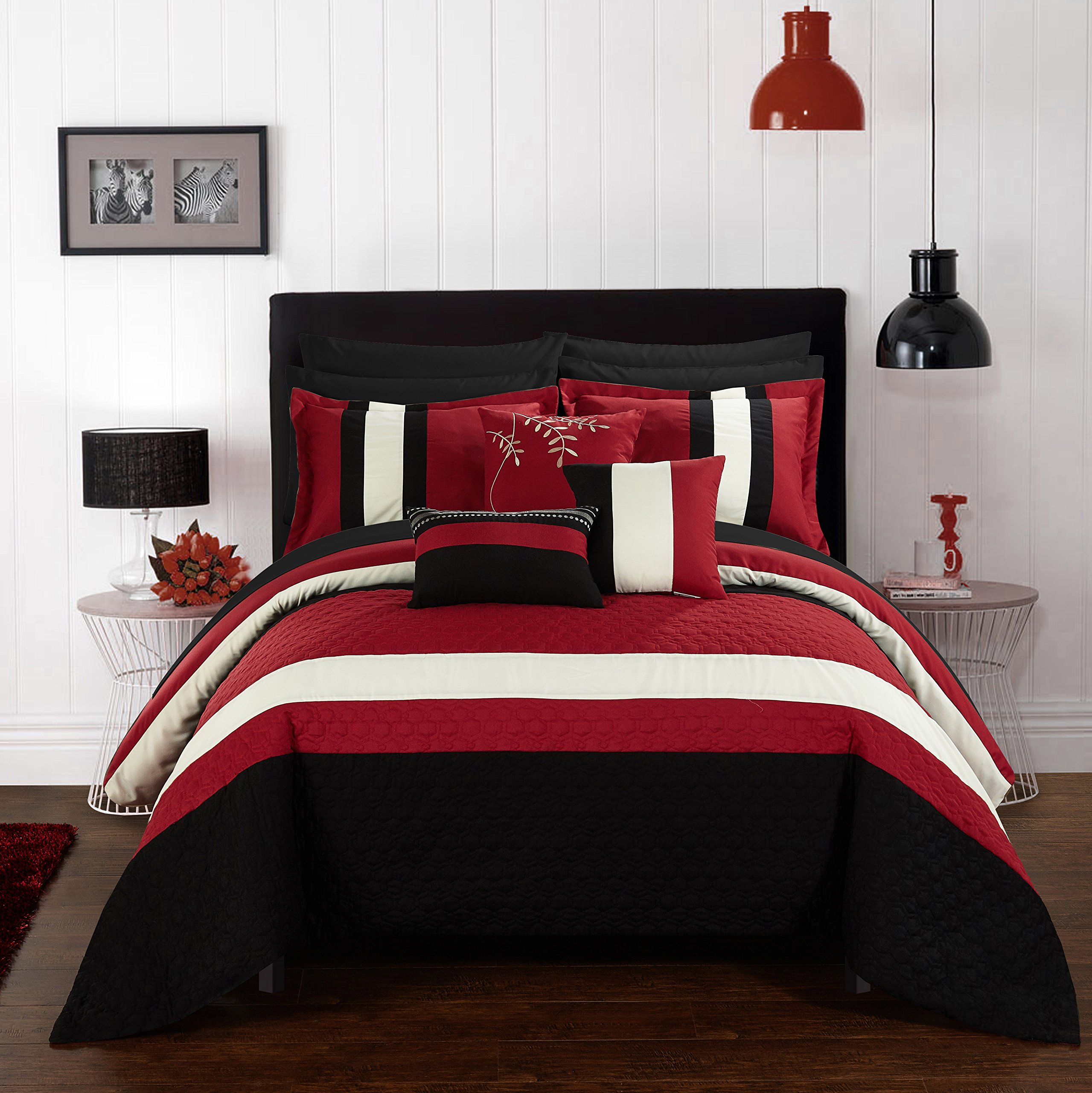 Chic Home CS2547-AN Pueblo 10Piece Pueblo Complete Bedroom Set with Octagon Embroidery Color Block Pattern. Queen Bed In A Bag Comforter Set Red with Sheet Set,Red,Queen by Chic Home