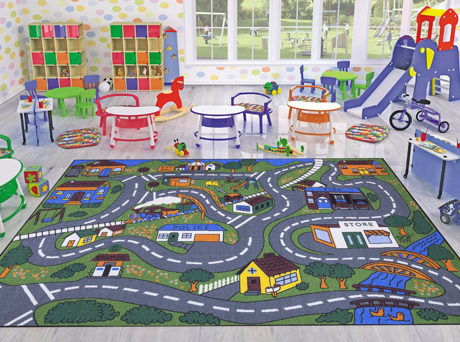 Ottomanson Jenny Collection Grey Base with Multi Colors Kids Children's Educational Road Traffic System Design(Non-Slip) Area Rug, 8'2'' X 9'10'', Multicolor