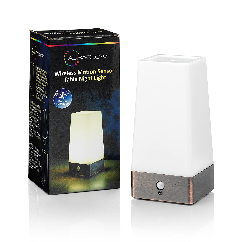 Auraglow Wireless Pir Motion Sensor Table Lamp Super Bright Led Wiring A Switch Uk Battery Powered Hallway Night Light Diy Tools