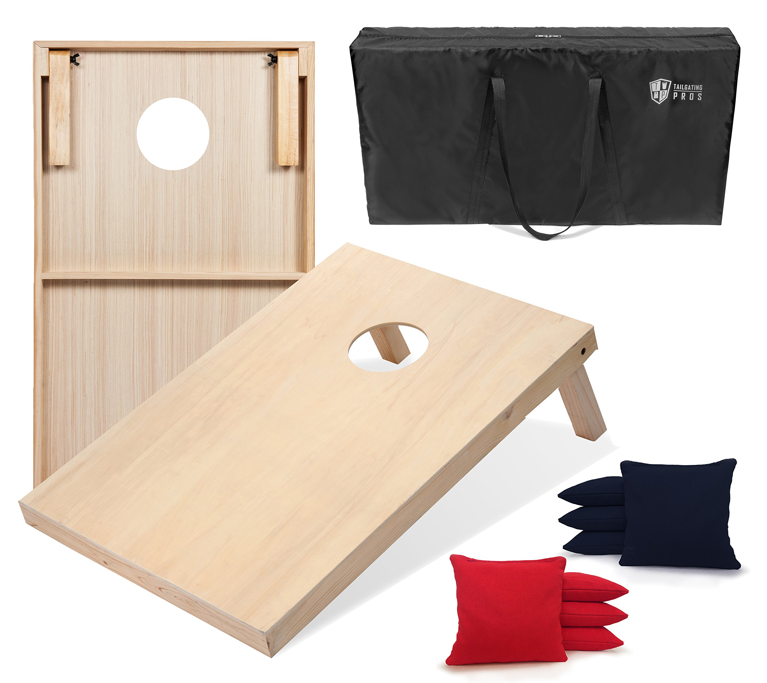 Tailgating Pros 4'x2' Cornhole Boards w/Carrying Case & Set of 8 Cornhole Bags (You Pick Color) 25 Bag Colors! (Red/Navy Blue, 3'x2' Boards) by Tailgating Pros