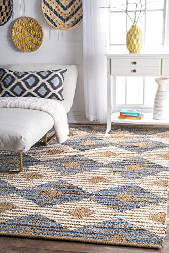 nuLOOM Dune Road Hand Braided Denim and Jute Striped Diamonds Area Rug
