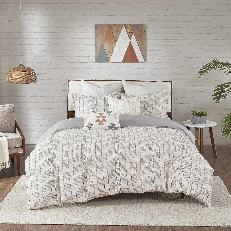 INK+IVY 100% Cotton Duvet Set Jacquard Geometric Design, All Season Comforter Cover Bedding Set, Matching Shams, Full/Queen(88