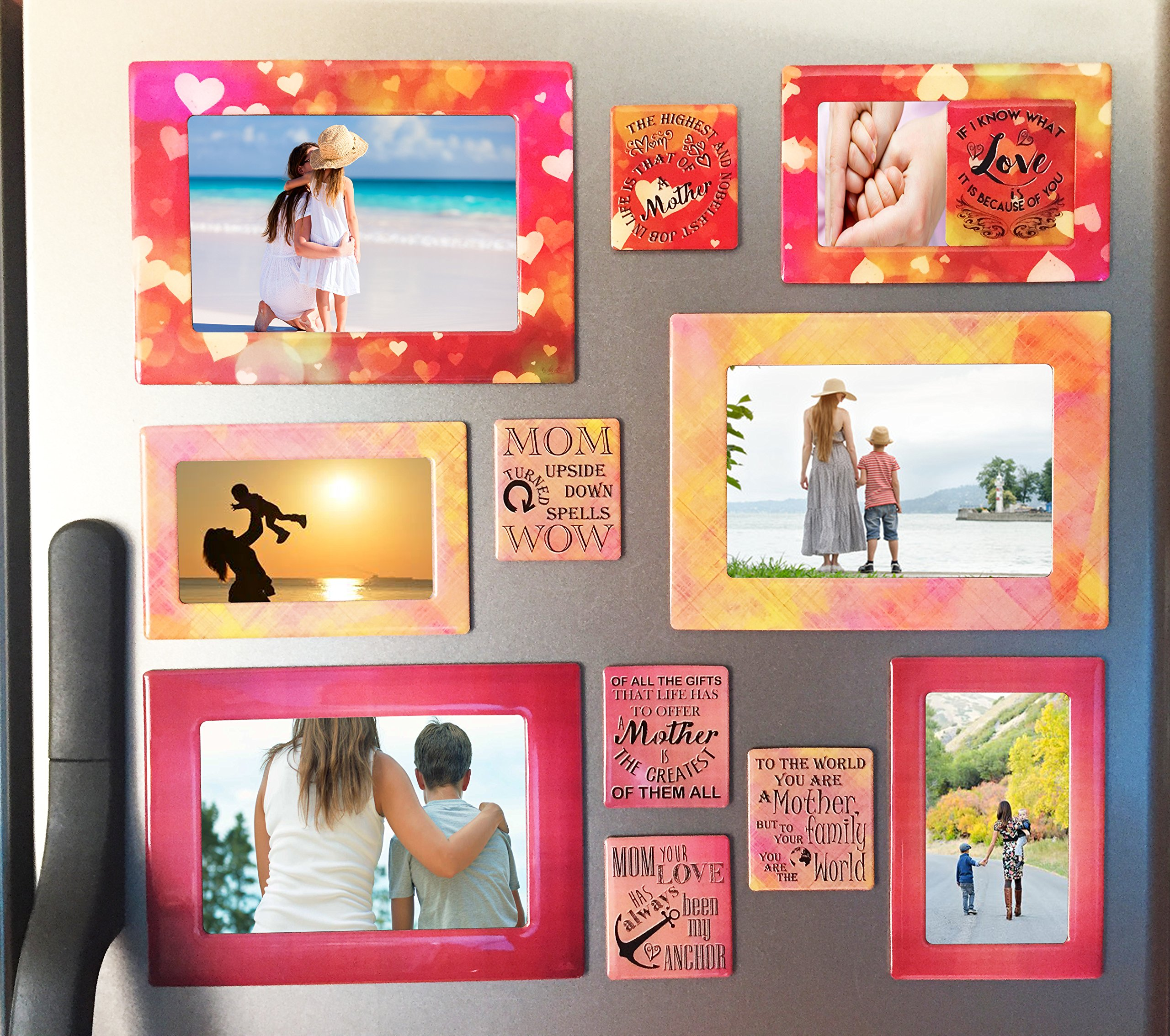 Gift for Mom 12 Piece Magnetic Picture Frames and Refrigerator Magnets with Inspirational Quotes Photo Collage by Sheen 5x7 4x6 3.5x5 2.5x3 Wallet - Mom Gifts - Gift for Mother - Birthday Gift for Mom by Sheen (Image #5)