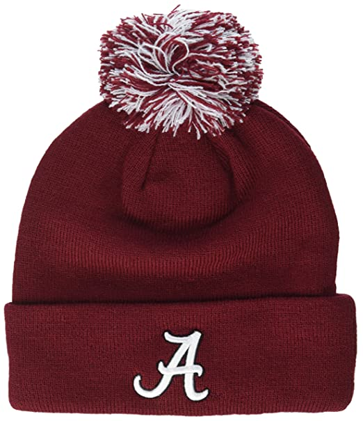 low priced e2f8e ebdbb Zephyr NCAA Alabama Crimson Tide Adult Men Pom Knit Beanie, Adjustable, Team  Color