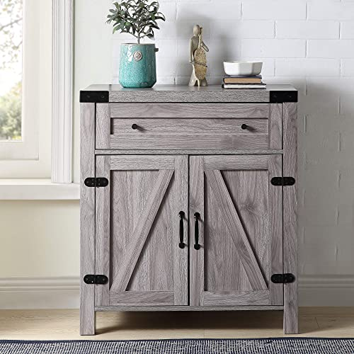 Goujxcy Rustic Storage Cabinet Wooden Retro Console Table 2 Barn Door Cabinet for Entryway, Hallway, and Living Room Wood Storage Cabinet Country Vintage Furniture Grey