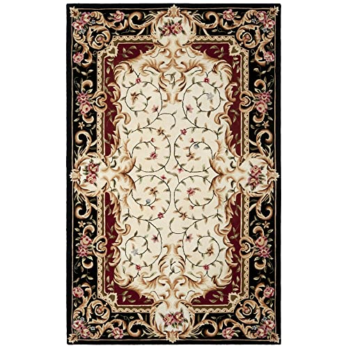 Safavieh Naples Collection NA508A Handmade Ivory and Black Wool Area Rug, 5 feet by 8 feet 5 x 8