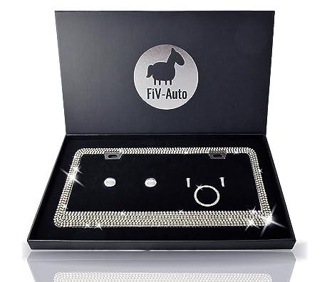 Amazon.com: FIV-AUTO Bling License Plate Frame For Car/ Handmade ...