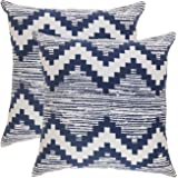 TreeWool, (Pack of 2) Ikat Chevron Accent Throw Pillow Covers in Cotton Canvas (18 x 18 Inches; Navy Blue & White)