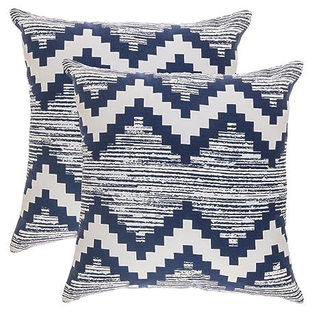 TreeWool - Pack de 2 - Cheurón Ikat Decorativo Fundas de cojín, 100% algodón (45 x 45 cm / 18 x 18 pulgadas; Azul Marino y Blanco)