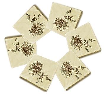 Dessin A Main Levee Dahlia Fleur 1 Coton Imprime En Lin Serviettes