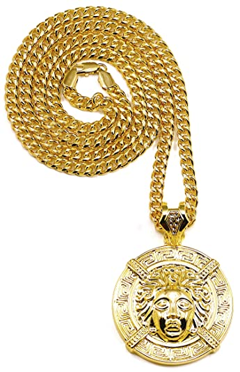 Amazon medusa necklace new large head gold color pendant medusa necklace new large head gold color pendant necklace with 37 inch 6mm cuban link chain aloadofball Images