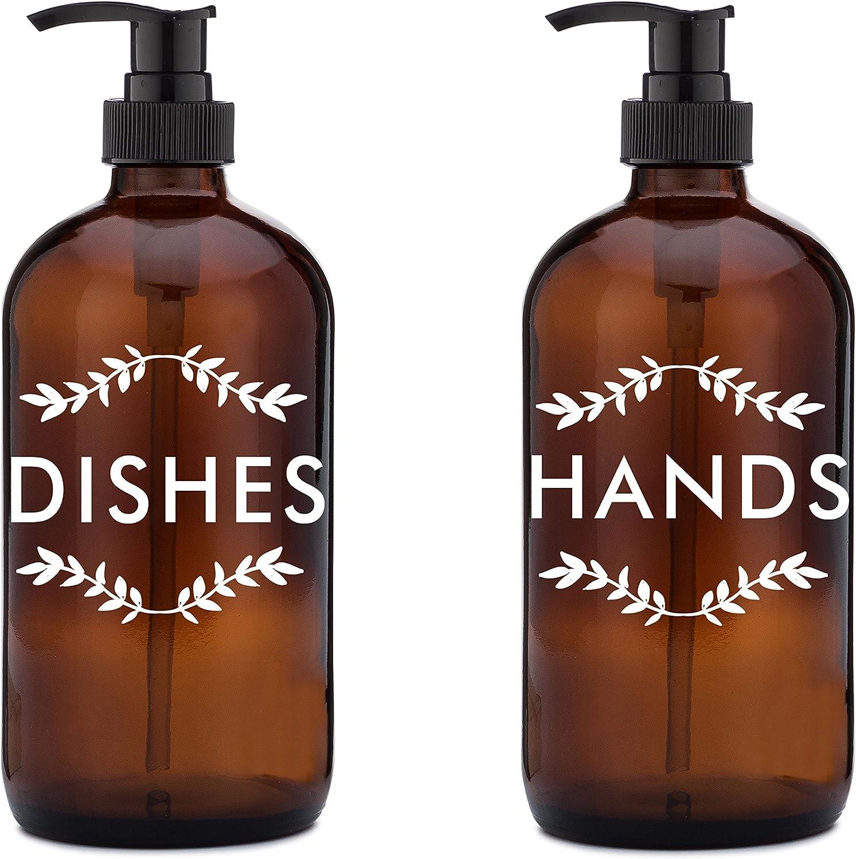 Amazon Com Rail19 Dish Soap Dispenser Set Laurel Hands Dishes Soap Hand Soap Dispenser Set Perfect For The Kitchen Sink Home Kitchen