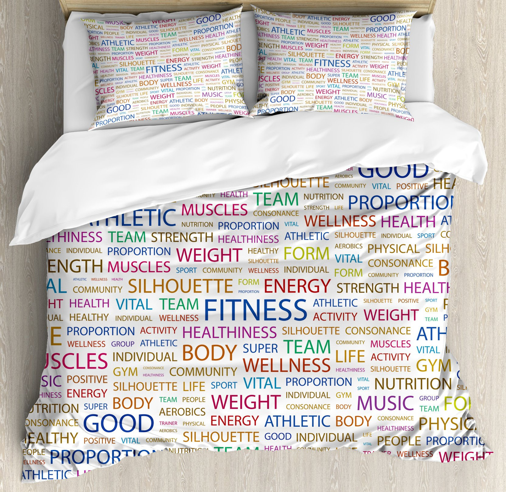 Fitness Queen Size Duvet Cover Set by Ambesonne, Gymnastics Psyhical Activity Lifestyle Concept Words Salubrity Wellness Health, Decorative 3 Piece Bedding Set with 2 Pillow Shams, Multicolor