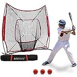 Rukket 6pc Baseball / Softball Bundle | 7x7 Hitting Net | 3 Weighted Training Balls | Strike Zone Target | Carry Bag | Practice Batting, Pitching, Catching | Backstop Screen Equipment Training Aids