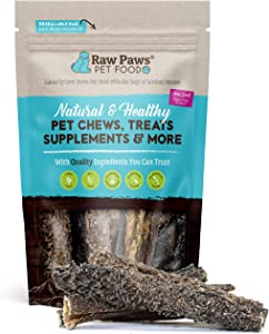 Raw Paws 6-inch Beef Green Tripe Sticks for Dogs, 5-Pack - Packed in USA - Dried Tripe Dog Treats from Free-Range, Grass Fed Cows No Added Antibiotics or Hormones - Dehydrated Green Tripe for Dogs