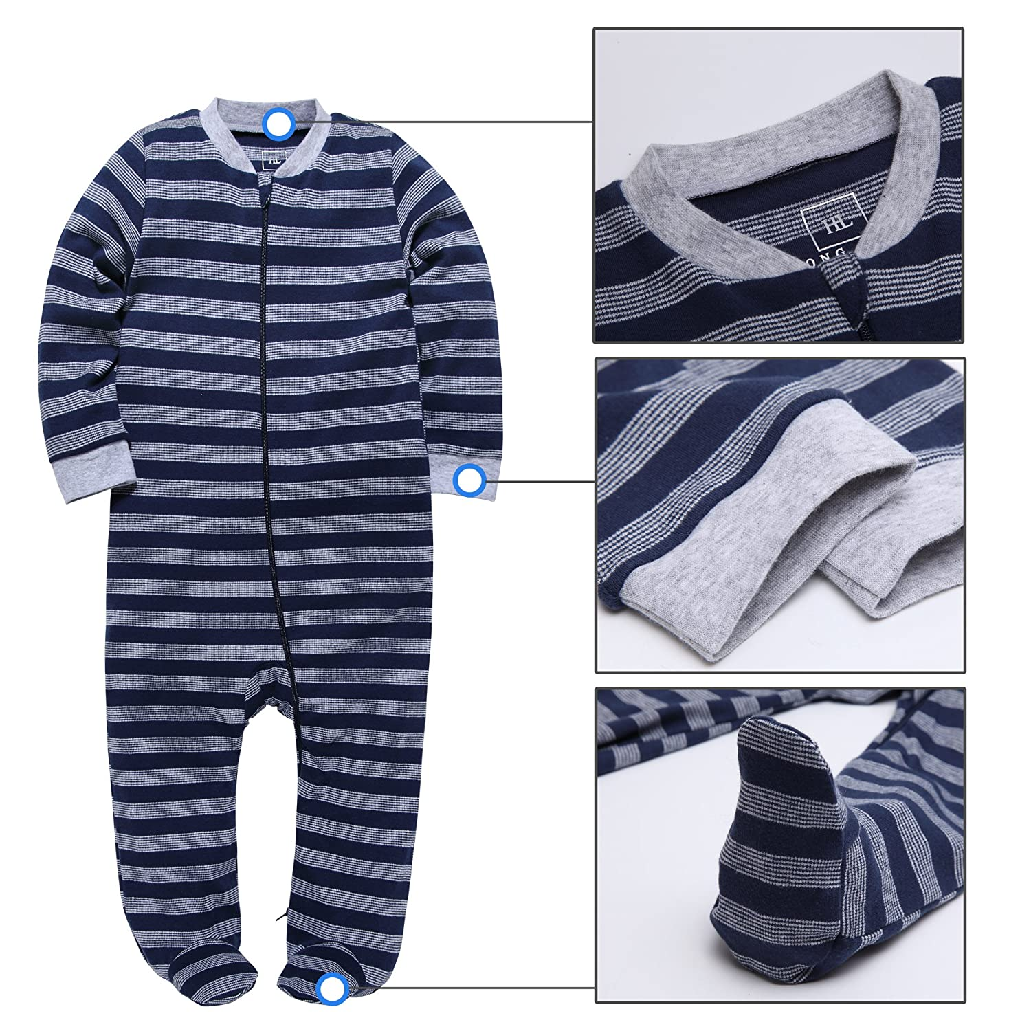 HONGLIN Baby Striped Cotton Pajamas Long Sleeve Spring New Gray and Blue Footie Sleepwear Jumpsuit 3-24 Months /…