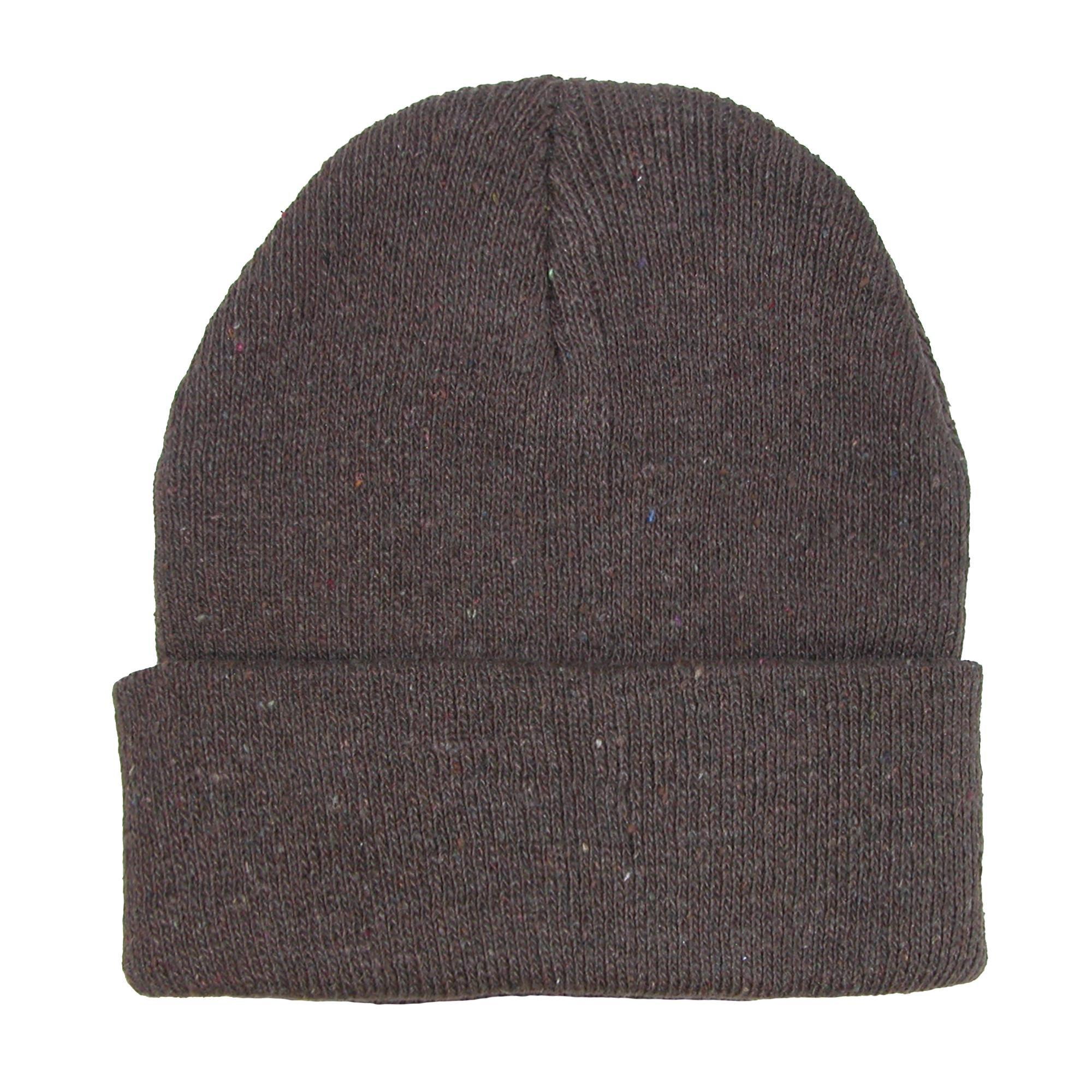CTM Kids' Knit Winter Cuff Stocking Cap, Brown