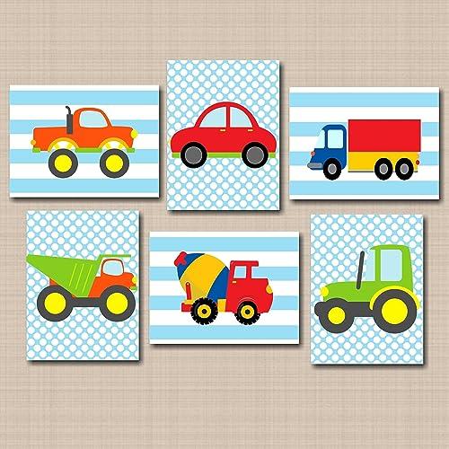 Transportation Wall Art,Trucks Wall Art, Playroom Wall Art,Transportation  Nursery Wall Art,Cars Planes Train Fire Truck Wall Art,Boy Bedroom ...