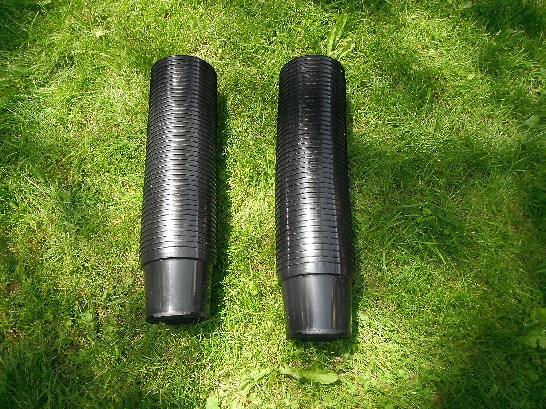 100x 2Liter 2L Schwarz Rund Polypropylen Kunststoff Garten Pflanztopf–Gute Qualität Töpfe