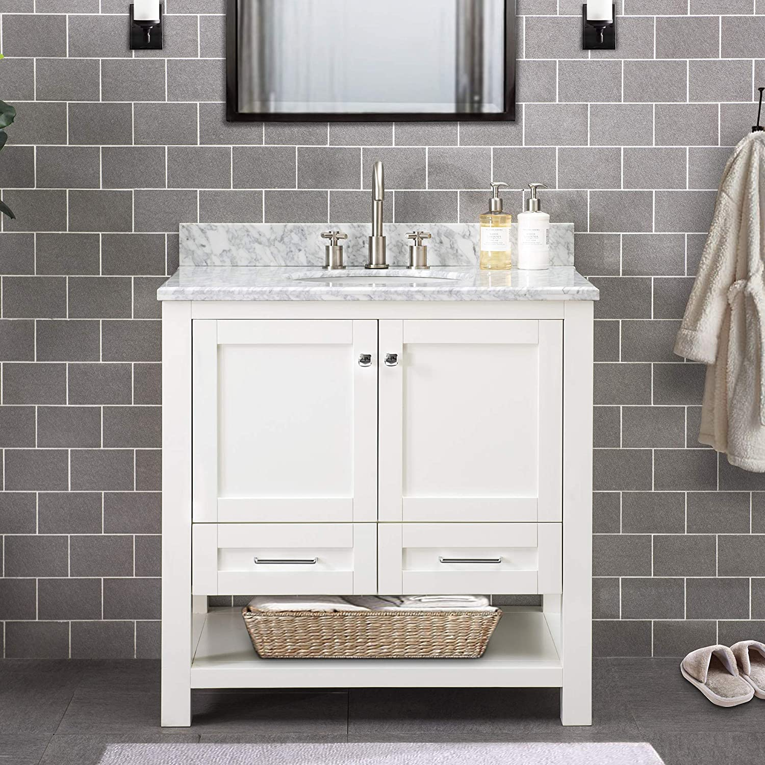 Amazon Com Sj Collection Walter 36 In Shaker Style Single Sink Bathroom Vanity White Home Kitchen