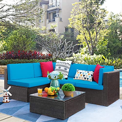 VICTONE Patio Furniture Sets 5 Pieces Outdoor Sectional Rattan Sofa All-Weather Manual Weaving Wicker Sofa Blue