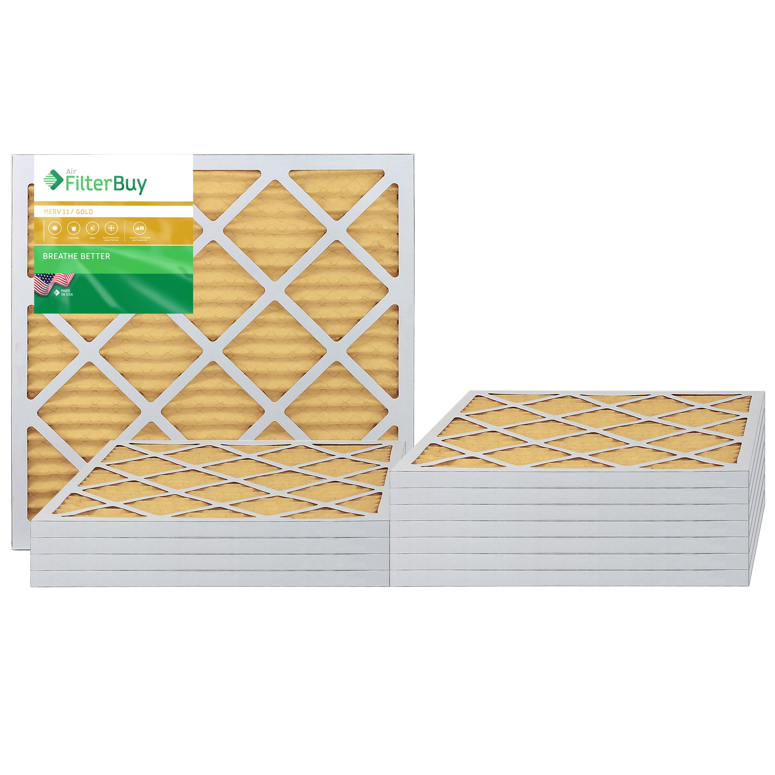 AFB Gold MERV 11 21x23x1 Pleated AC Furnace Air Filter. Pack of 12 Filters. 100% produced in the USA.