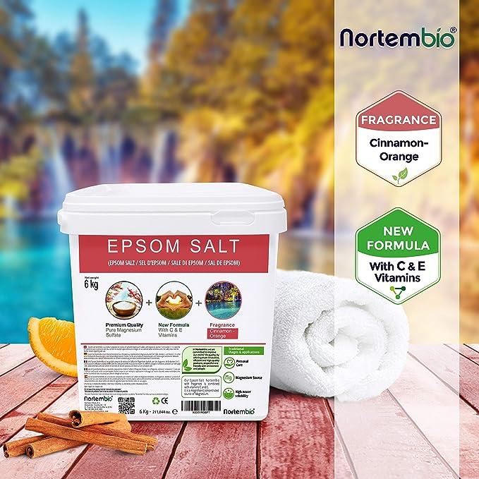 Nortembio Sal de Epsom 6 Kg. Novedosa Fragancia de Canela Naranja. Hidratada con Vitamina C y E. Sales de Baño y Cuidado Personal.: Amazon.es: Hogar