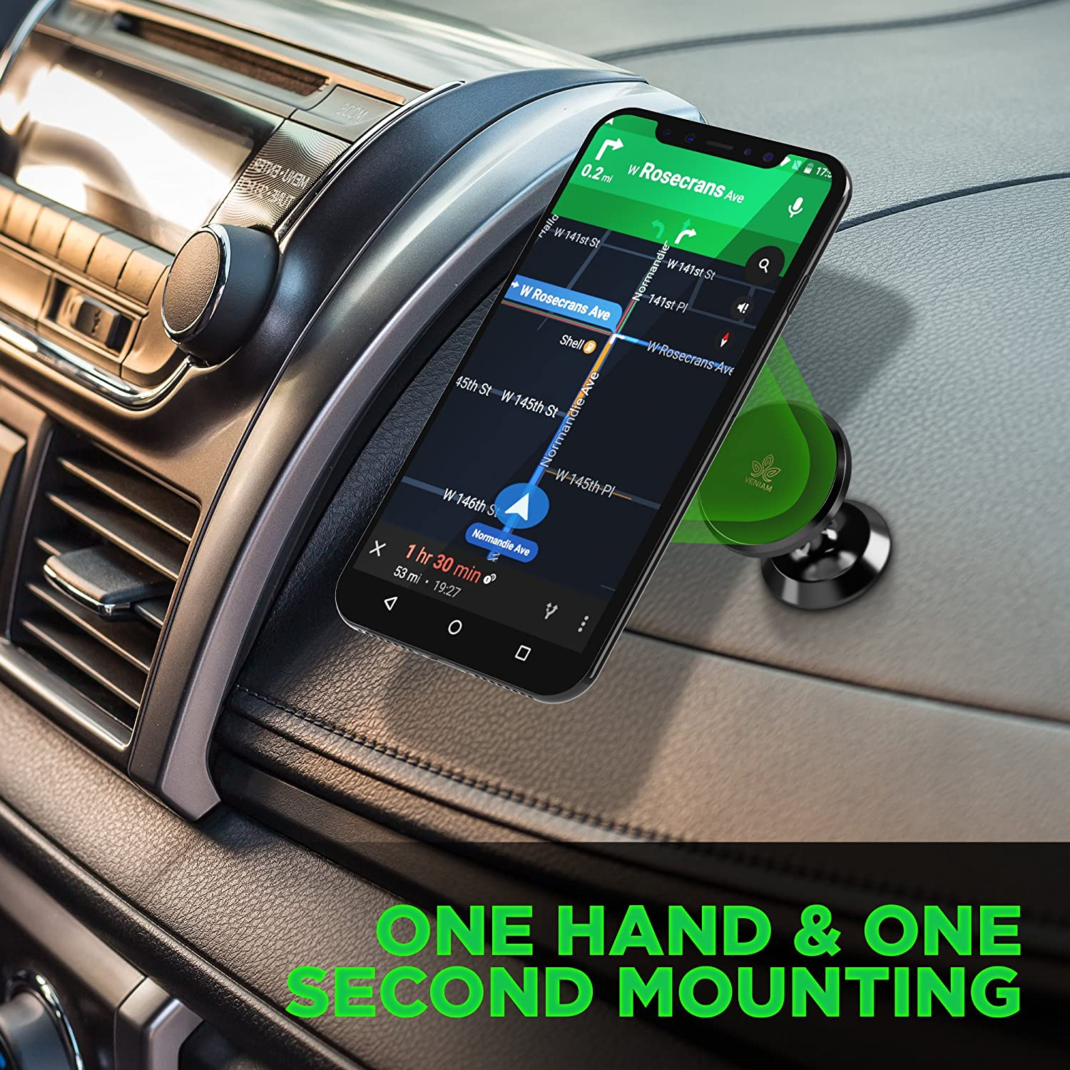 Universal Dash 360˚ Rotation Strong Magnet Cell Phone Holder for Smartphones Compatible with Samsung S9 // S8 // S7 // Note 9 iPhone X//Plus Magnetic Phone Car Mount New 2019 Design Black veniam 4351484133