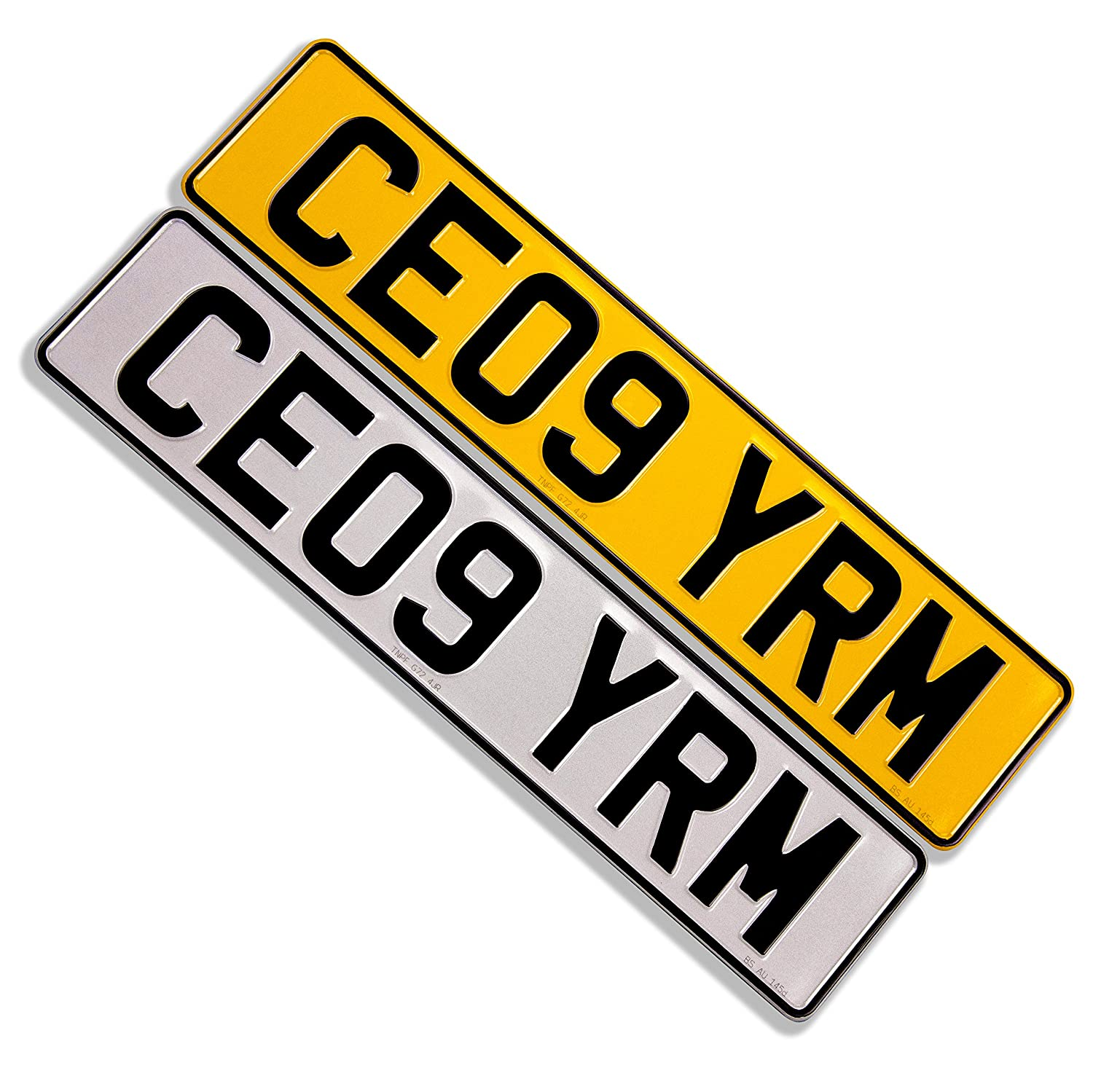 Set of Road Legal Reflective Pressed Metal Car Number ...