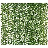 Yatim 78-Ft 12 Strands Artificial Silk Fake Greenery Hanging Vine Plant Leaves Jungle Theme Garland Home Garden Wall Decoration (Money)