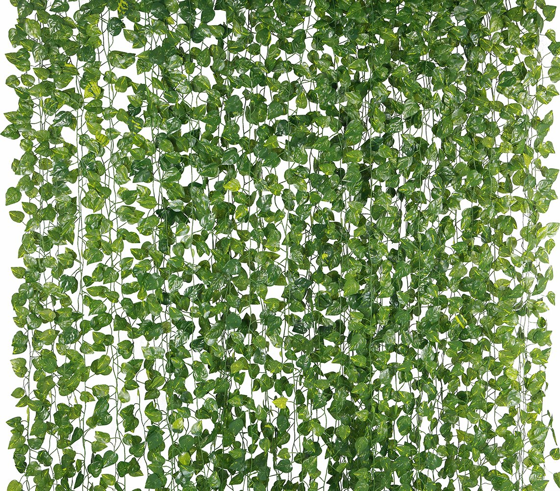 Yatim 78-Ft 12 Pack Silk Artificial Ivy Vines Leaf Garland Plants Hanging Wedding Garland Fake Foliage Flowers Home Kitchen Garden Office Wedding Wall Decor Yatim34