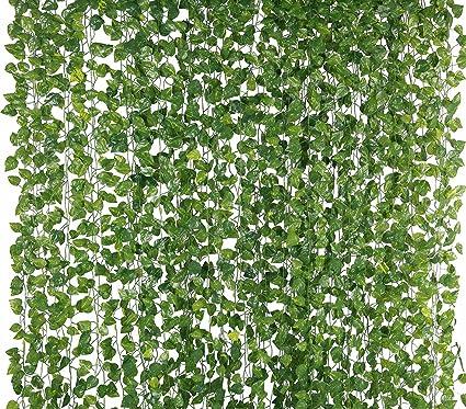 Yatim 78 Ft 12 Pack Silk Artificial Ivy Vines Leaf Garland Plants Hanging  Wedding Garland
