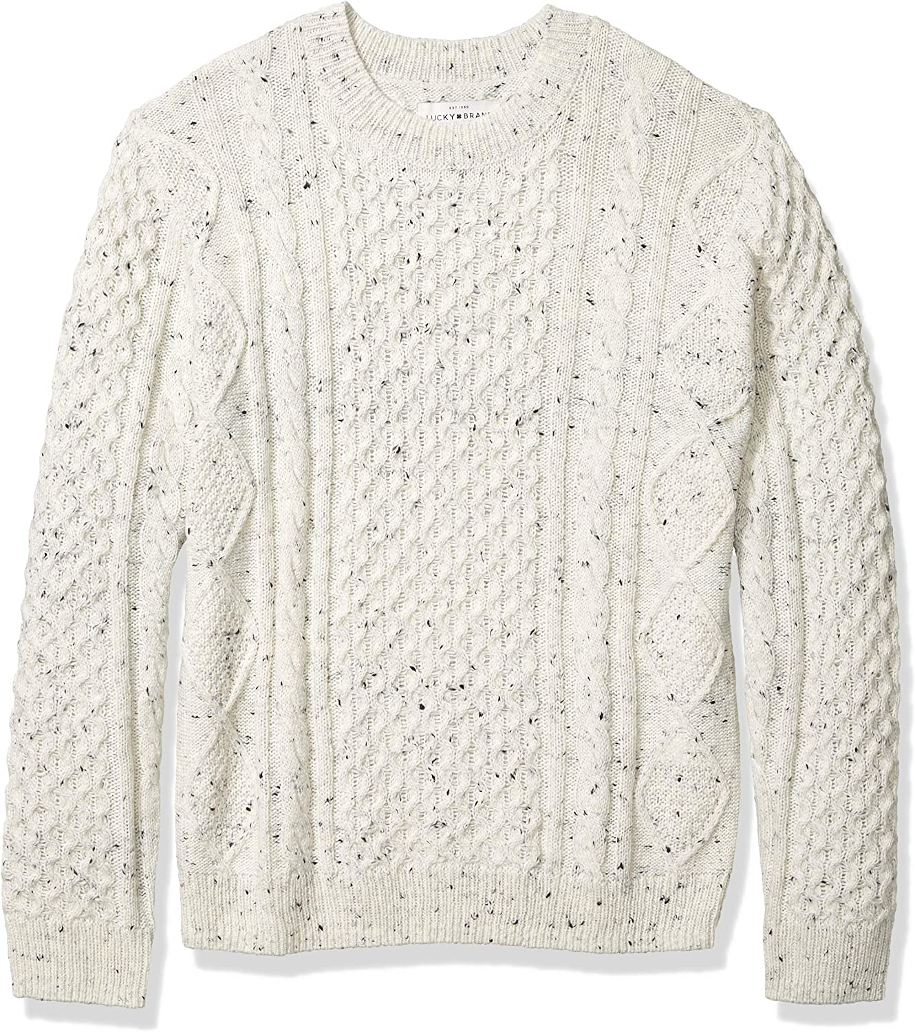 Lucky Brand Mens Crew Neck NEP Cable Pullover Sweater Pullover Sweater