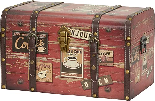 Household Essentials 9245-1 Medium Decorative Home Storage Trunk – Luggage Style – Coffee Shop Design