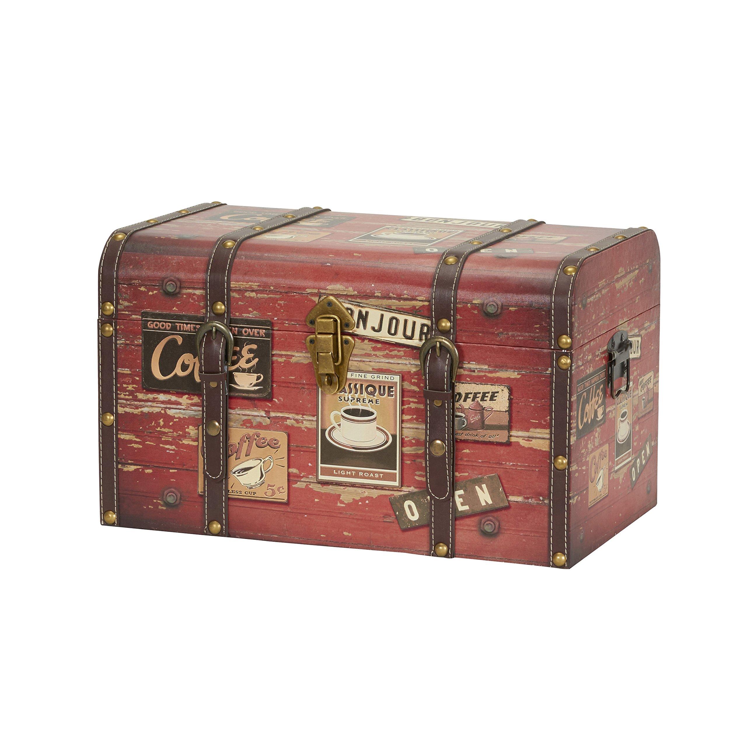 Household Essentials 9245-1 Medium Decorative Home Storage Trunk - Luggage Style - Coffee Shop Design by Household Essentials