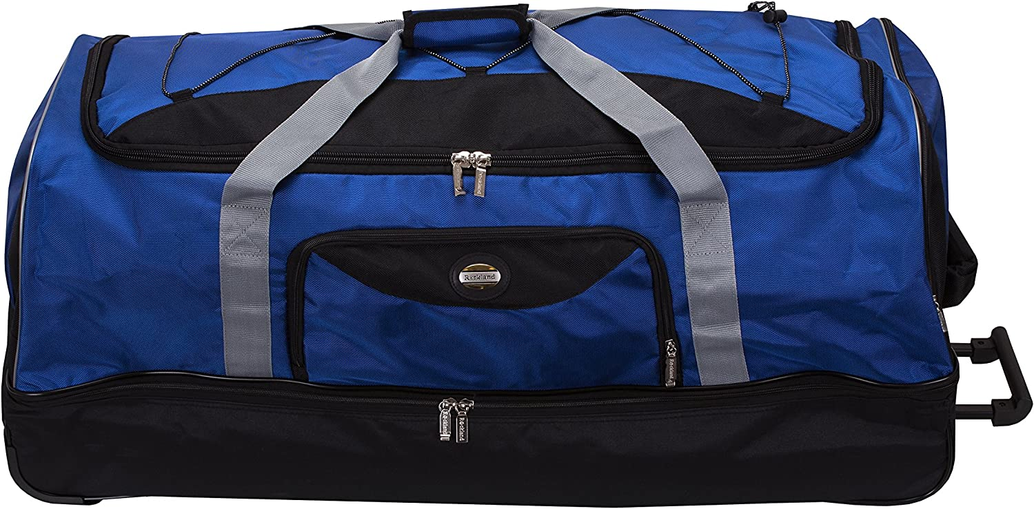 Rockland Drop Bottom Rolling Duffel Bag Navy 40 Inch Carry Ons